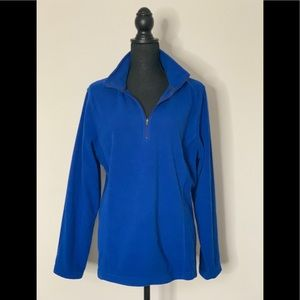 EUC Lands End Blue Fleece Pullover Lg